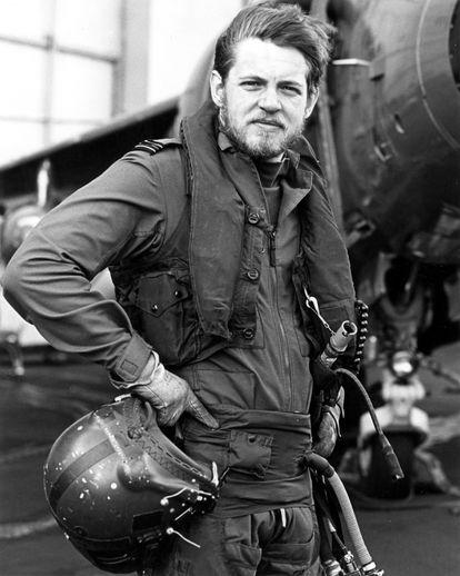 El expiloto británico David Morgan en 1982, durante la guerra de Malvinas.