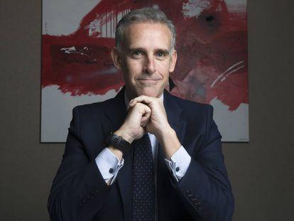 Luis Ussia, consejero delegado de Mutuactivos, posa en la sede de la firma en Madrid.