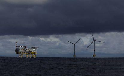 Subestación Andalucía en el parque eólico marino Wikinger, en el mar Báltico.