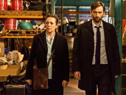 Olivia Colman y David Tennant en 'Broadchurch'.