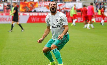 Carvajal, durante un amistoso de pretempoada del Real Madrid.