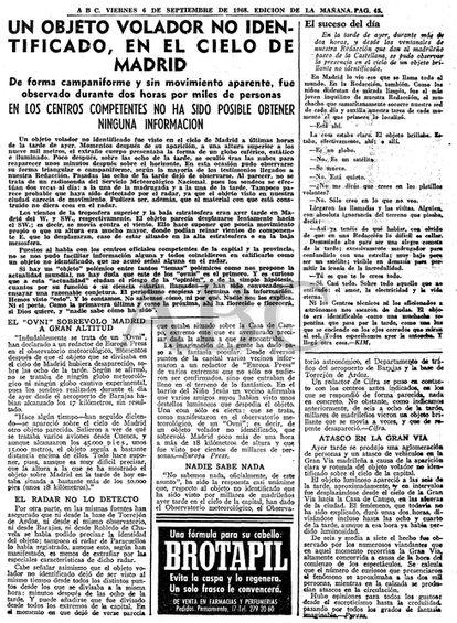 """Noticias del periódico ABC del día 6 de septiembre de 1968, sobre otro supuesto Ovni que habría sobrevolado la Gran Vía de Madrid. La noticia puede consultarse en <a href=""""http://hemeroteca.abc.es/nav/Navigate.exe/hemeroteca/madrid/abc/1968/09/06/043.html"""">su archivo</a>."""