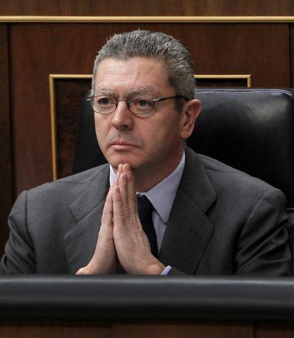 El ministro de Justicia, durante la sesión de control en el Congreso.