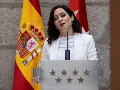 La presidenta de la Comunidad de Madrid, Isabel Díaz Ayuso el viernes en la sede de la Comunidad.