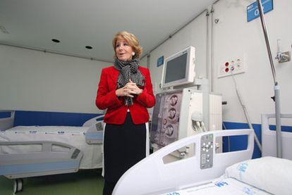Esperanza Aguirre, en la inauguración del ala norte del hospital Clínico el pasado mes de marzo.