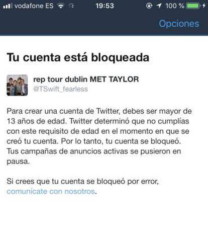 Una de las cuentas bloqueadas por Twitter a un usuario en España.