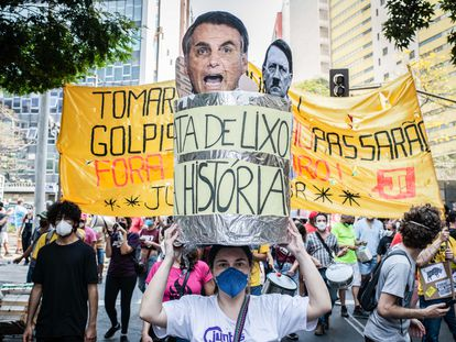 Manifestantes anti Bolsonaro el pasado 7 de septiembre en Belo Horizonte.
