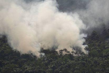 Un fuego en la región de Porto Velho.