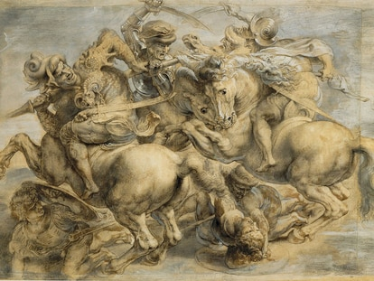 Interpretación de Pedro Pablo Rubens de 'La batalla de  Anghiari' realizada a principios del siglo XVIIl a partir de copias del boceto original. Es la reproducción más conocida  y se encuentra en el Museo del Louvre de París.