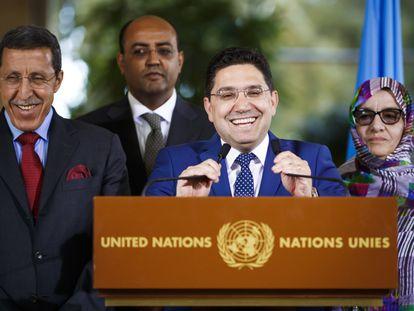 El ministro de exteriores marroquí, Nasser Bourita, tras la segunda mesa redonda sobre el Sahara en Ginebra, Suiza.