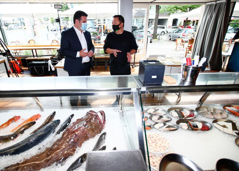 German Labor Minister Hubertus Heil during a visit to a restaurant in Berlin last week.