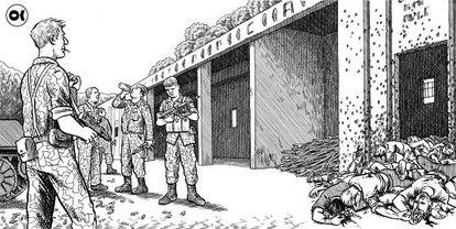 Ilustración de 'Srebrenica', del periodista y dibujante Joe Sacco.