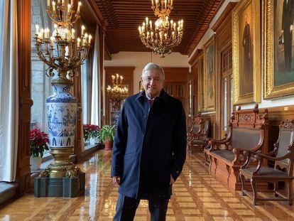 El presidente de México, Andrés Manuel López Obrador, este viernes en el Palacio Nacional.