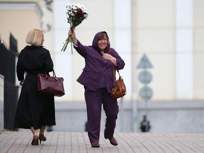 La escritora bielorrusa Svetlana Alexiévich, este miércoles en Minsk.