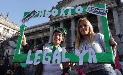 Una protesta en Buenos Aires a favor del aborto legal.