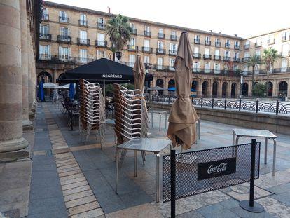 Terrazas vacías en Bilbao el pasado noviembre.