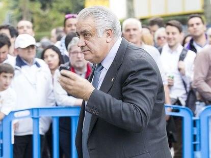 El expresidente del Real Madrid, Lorenzo Sanz, en mayo de 2016 en Madrid.