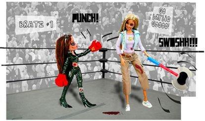 La Barbie, nacida en 1959, se enfrenta a una Bratz, que acaba de cumplir 10 años en el mercado.