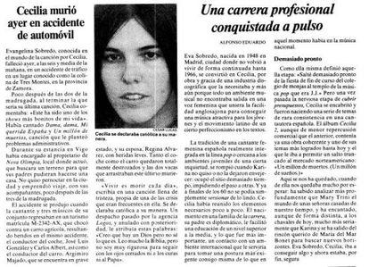 Noticia sobre la muerte de Cecilia en EL PAÍS del 3 de agosto de 1976.