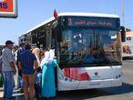 Autobuses de Alsa en Marrakech, por donde la empresa integrada en National Express empezó su expansión en la nación vecina.