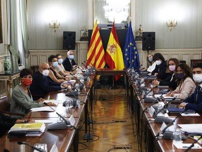 Reunión entre el Gobierno y la Generalitat, este lunes en Madrid.