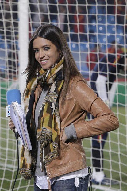 La periodista Sara Carbonero durante uno de los partidos de la Selección española en el Mundial de 2010