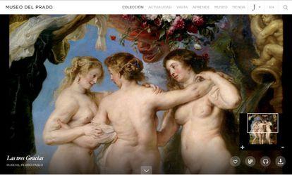 Detalle en la web del Prado del cuadro 'Las tres Gracias' de Rubens.