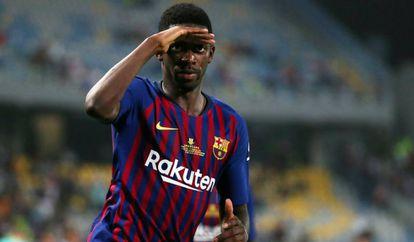 Ousmane Dembélé, jugador del FC Barcelona, celebra el gol marcado en el partido contra el Valladolid.