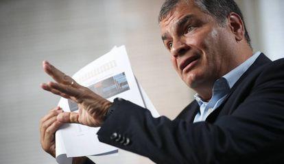 El expresidente de Ecuador Rafael Correa, durante una entrevista en Bruselas, en octubre de 2019.