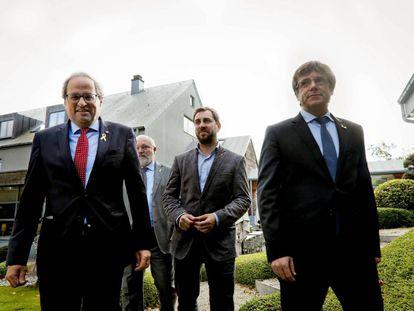 El presidente de la Generalitat, Quim Torra  con Puigdemont  en Waterloo.