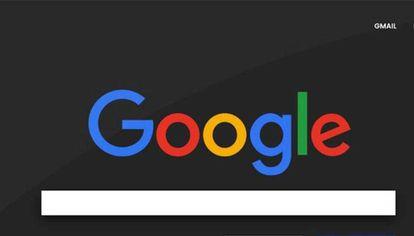 Home de Google en modo oscuro.