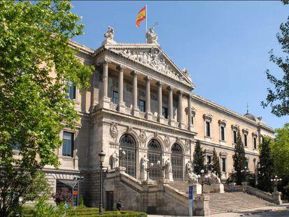 Entrada principal de la Biblioteca Nacional, en Madrid.