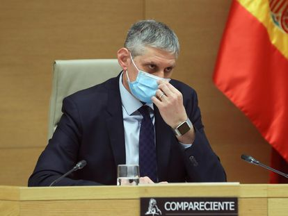 El inspector jefe de la Policía José Ángel Fuentes Gago, en su comparecencia este jueves en la comisión parlamentaria por el espionaje ilegal a Luis Bárcenas.