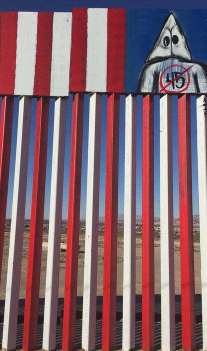 Fragmento del muro fronterizo en el Rancho Anapra.