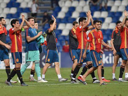 Los jugadores de España celebran la victoria ante Francia.