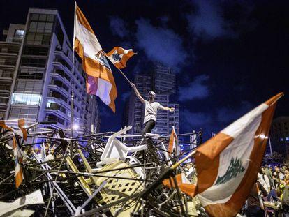 Protestas en Beirut, Líbano, en octubre de 2019.