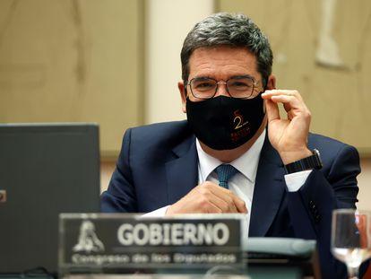 El ministro de Inclusión, Seguridad Social y Migraciones, José Luis Escrivá, ante la comisión de seguimiento del Pacto de Toledo.