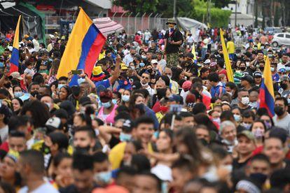 Una manifestación contra el Gobierno colombiano, en Cali, el pasado 13 de junio.