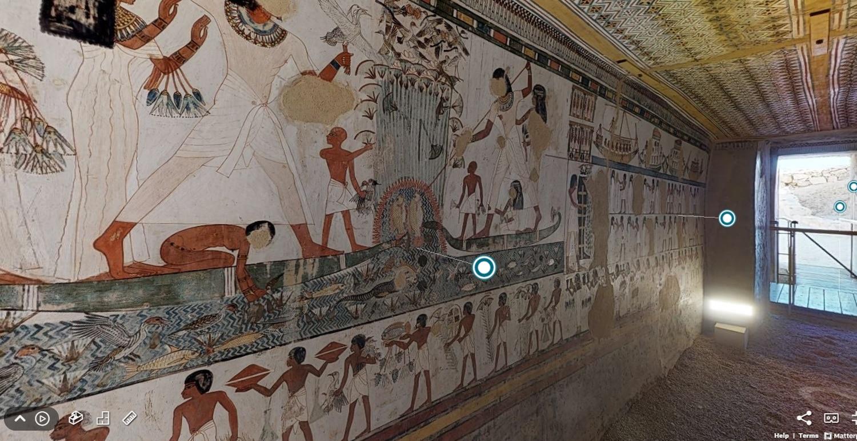 Vista de la tumba de Menna desde la herramienta virtual proporcionada por el ministerio de Turismo y Antigüedades de Egipto.