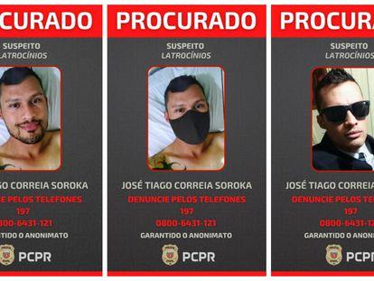 Imágenes de José Tiago Correia Soroka utilizadas por la policía en la búsqueda.