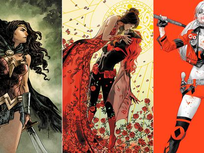Wonder Woman, Batwoman besa a Safiyah Sohail, y Harley Quinn.