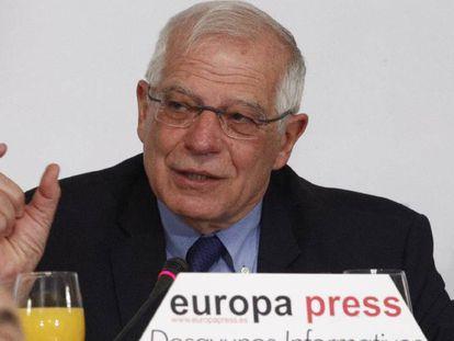 Josep Borrell, en el acto informativo de este lunes en Madrid.