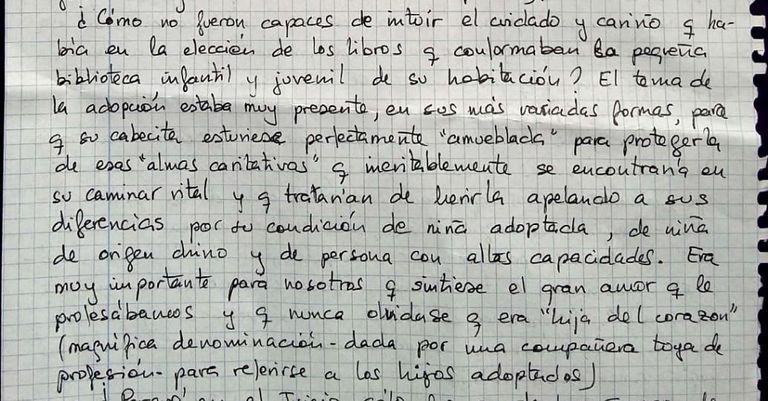 Fragmento de la carta de nueve páginas enviada por Rosario Porto a EL PAÍS a finales de 2017.