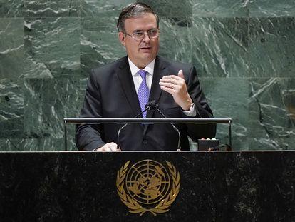 El secretario de Relaciones Exteriores, Marcelo Ebrard, durante su intervención ante la Asamblea General de la ONU el pasado septiembre.