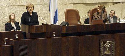 Angela Merkel, durante su intervención ante el Parlamento israelí.