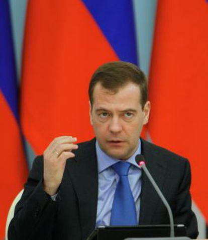 El presidente ruso Dimitri Medvédev en una reunión en Mordovia.