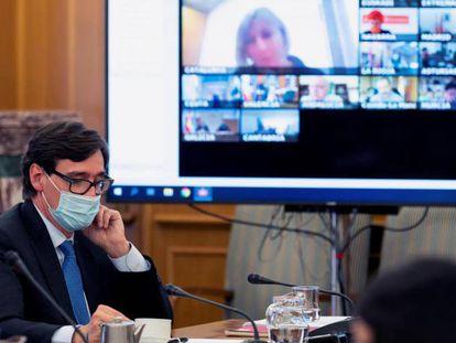 El ministro de Sanidad, Salvador Illa, en el Consejo Interterritorial del Sistema Nacional de Salud este 30 de septiembre.