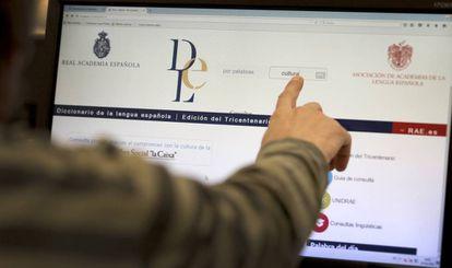 Un usuario busca en el Diccionario de la RAE en Internet.