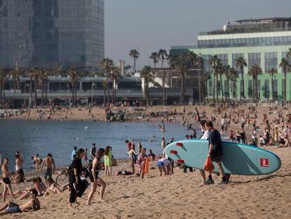 Playa de la Barceloneta el pasado mes de mayo.