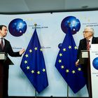 Kosovo's Prime Minister Albin Kurti, left, speaks next to European Union foreign policy chief Josep Borrell during a joint news conference at the EEAS building in Brussels, Thursday, April 29, 2021. (Kenzo Tribouillard, Pool Photo via AP)